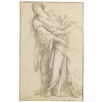 standing female figure with kneeling attendant (sketch) by michel corneille the younger