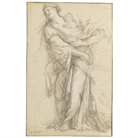 standing female figure with kneeling attendant sketch by michel corneille the younger