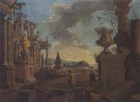 landschaft mit antiken ruinen by francesco arculario
