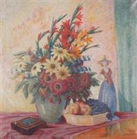 stilleben mit blumen in vase, obst und keramikfigur by hanns atzenbeck