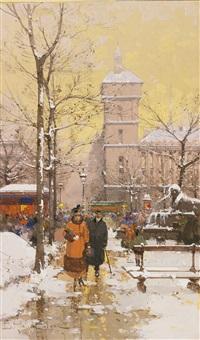 la place du châtelet et la conciergerie sous la neige by eugène galien-laloue