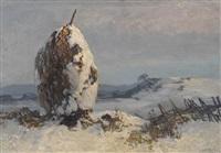 winterlandschaft mit schneebedecktem strohmandl by oskar mulley