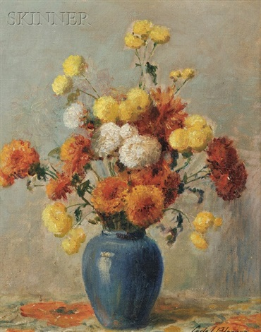still life with chrysanthemums by carle john blenner