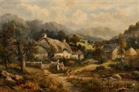 thatched cottage with children feeding chickens by william langley