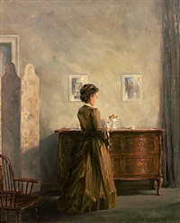 rückenportrait einer jungen frau vor barockkommode mit porzellanfigurinen, stellschirm und stuhl by august böcher