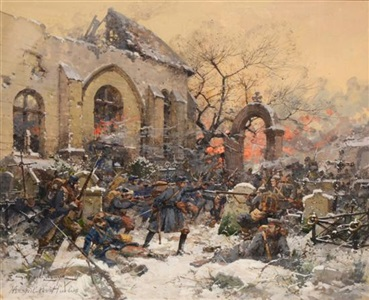 world war i skirmish between german and french infantry in a churchyard by eugène galien laloue