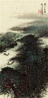 清江鱼渔 立轴 纸本 by li xiongcai