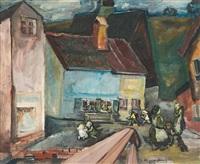 straßenszene in münchen-giesing by wilhelm von hillern-flinsch