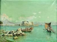 italienische küstenlandschaft mit fischerbooten by enrico huber
