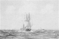 dreimastbark und andere schiffe vor der küste by geo wolters