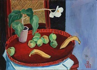 stillife with fruits and flower by vilhelm bjerke-petersen