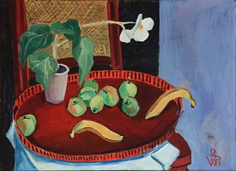 stillife with fruits and flower by vilhelm bjerke petersen