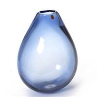 large drop-shaped vase of transparent blue by per lutken