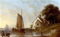 a calm day on the estuary (the thames?) by john ward of hull