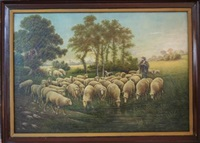 shepherd and his flock at stream, possibly a self-portrait by joseph relinger