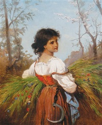 young girl gathering hay by corrodi