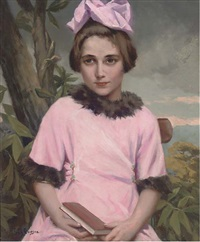 portrait of a young girl in a pink dress with fur trim in a landscape by fernand le quesne