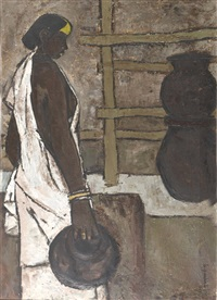 untitled, woman in white robe by b. prabha