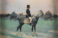jinete a caballo by josep (josé) cusachs y cusachs