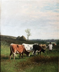 cattle and farmer in a landscape by william frederick hulk