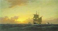 brigg unter hamburger flagge mit anderen schiffen auf hoher see by heinrich leitner
