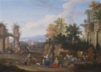 italienische landschaft mit ruinen und bäuerlicher staffage by mathys schoevaerdts