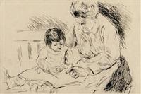 wärterin mit kind auf einer gartenbank by max liebermann