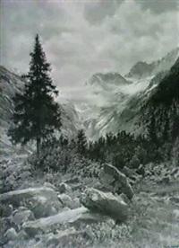 almlandschaft mit alpenblumen und blick auf den dachstein by ferdinand remp