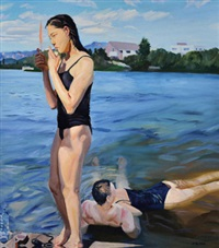 水边抽烟 (smoking by the river) by liu xiaodong