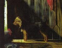 stående terrier og hone i ladebygning by adrienne lester