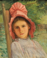 portrait of a girl in a pink bonnet by anna lee stacey