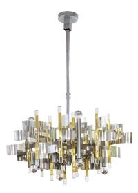 mirage lampada a sospensione a dodici luci con struttura by sciolari (co.)