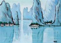 翠绿的漓江 板面 油画 by tu ke