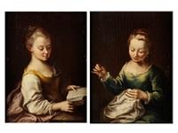 portrait zweier frauen beim nähen und lesen (2 works) by antonio mercurio amorosi
