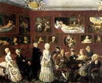 scena di conversazione in una galleria di dipinti by domenico fabbroni