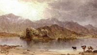 landscape with cattle at a lake's edge with mountains in the background by james docharty