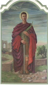 a saint in roman dress holding a sword and a palm leaf by margaret arc
