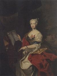 bildnis einer vornehmen dame beim cembalospiel by johann gottfried auerbach