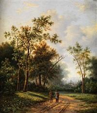 wanderer auf einem sandigen weg by marinus adrianus koekkoek the younger