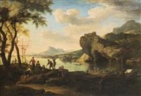 paesaggio costiero con pescatori by jacob de heusch