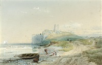 unloading the catch below dunstanburgh castle, northumberland by samuel phillips jackson
