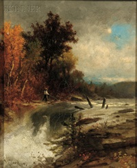fisherman by a river by george herbert mccord