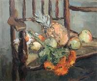 sunflowers, apples and a pineapple by lucette de la fougere