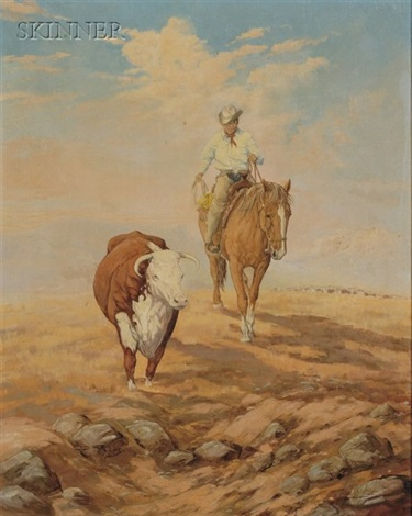 lone rider with bull by george d smith