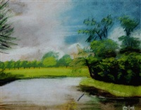 landscape with pond and blue sky by charles woodward hutson