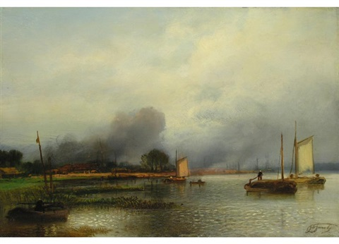 segelboote am flussufer by jacob jacobs