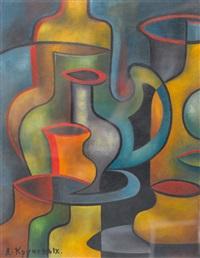 kubo-futuristisches stillleben mit vasen by aleksei (aleksandr) eliseevich kruchenykh