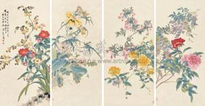 钱镜塘藏工笔重彩花卉 in 4 parts by tang shishu