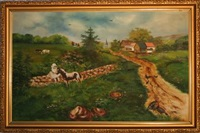 young girl with horse in bucolic setting by james s. hill