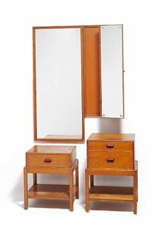 two part folding mirror and two chests by rigmor andersen
